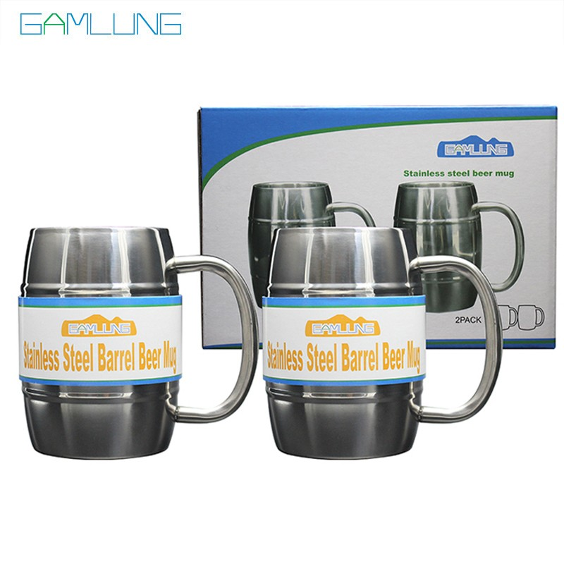 Gamlung Brand Gift Box Stainless Steel Barrel Beer Mug Tankard Stein Double Wall Coffee Tea Mirror Cup Set 16OZ 2 PCS 2017
