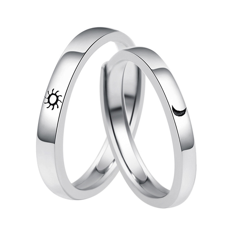 Couple Rings Jewelry Engagement Wedding Sun-Moon Silver Women Lovers For Party-Gift Zinc-Alloy