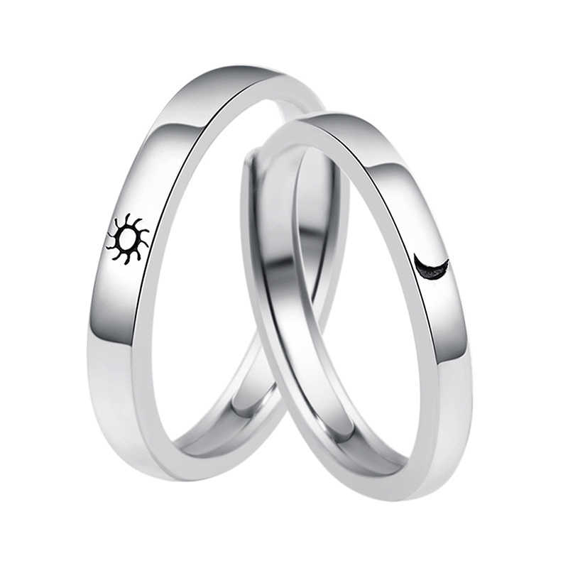 Zinc alloy Lovers Couple Rings Silver Sun moon Wedding Promise Ring For Women Men Engagement Jewelry Party Gift