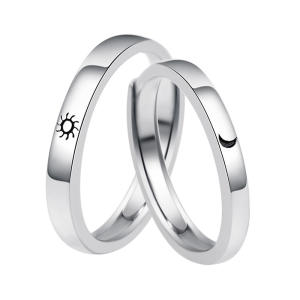 Zinc alloy Lovers Couple Rings Silver Sun moon Wedding Promise Ring For Women Men Engagement