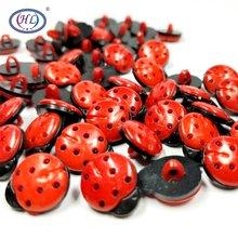 Hl 15X12Mm Red Beatles Plastic Knoppen Diy Kleding Kleding Naaien Accessoires 50Pcs