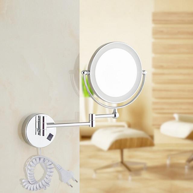 """Бесплатная Доставка 8 """"свет Настенный Круглое Увеличительное Зеркало LED Макияж Зеркало батареи макияж дамы, частные зеркала"""