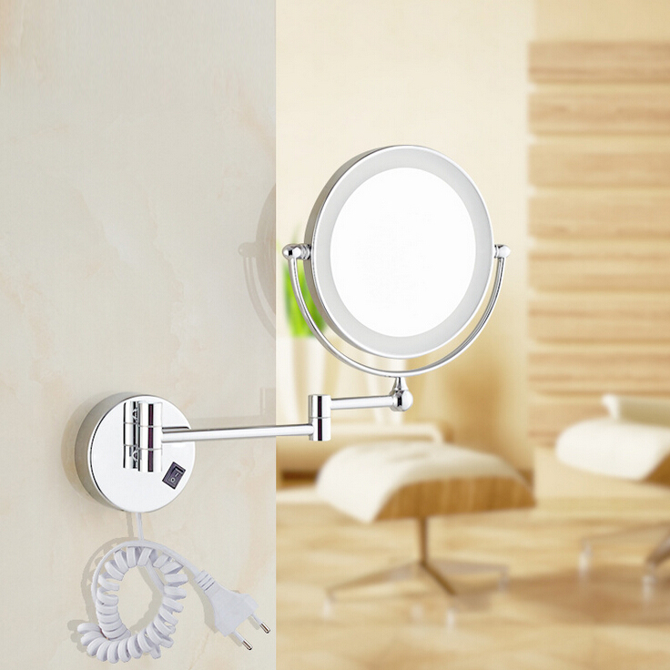 "Led Light Wall Mounted Makeup Mirror: Free Shipping 8""LED Light Wall Mounted Round Magnifying"