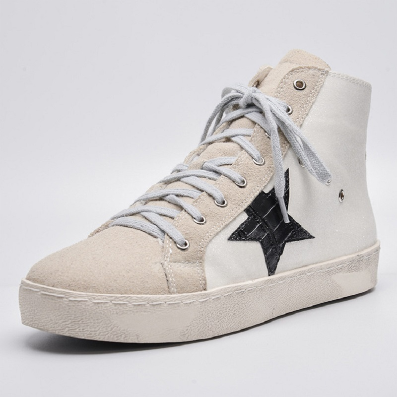 2017 autumn and winter new high-top to help flat star dirty shoes to do with the old student lace casual shoes tide female down and dirty