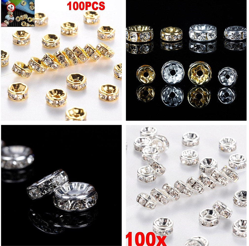 100PCS Crystal Rhinestone Silver Rondelle Spacer Beads DIY Jewelry Making Beads