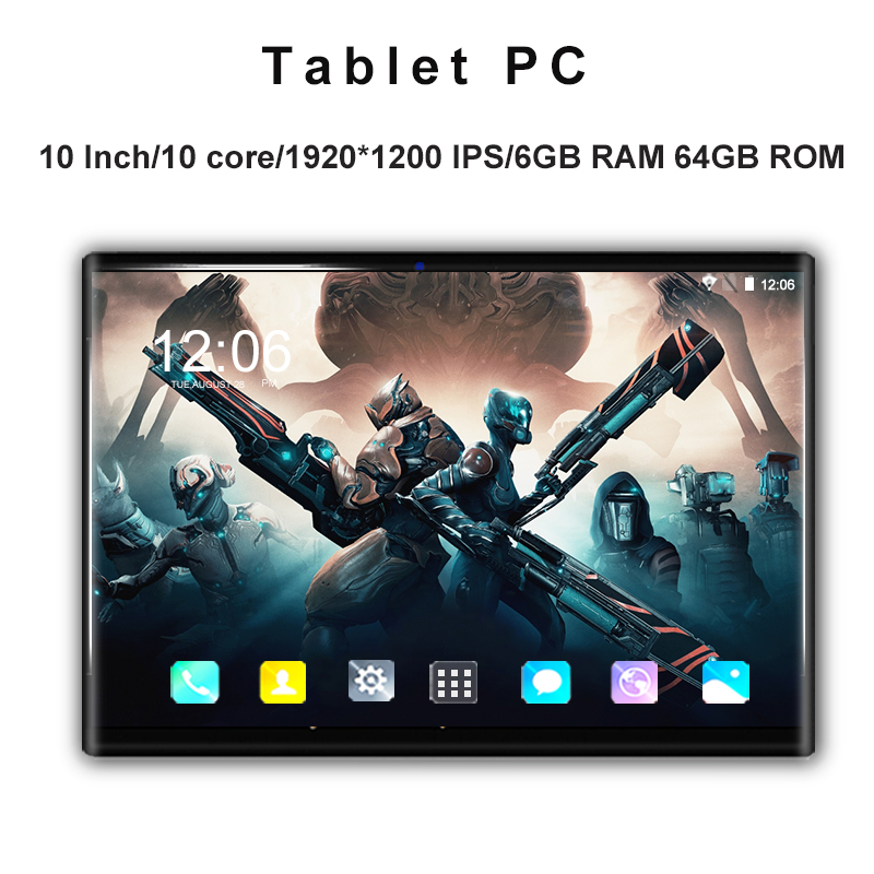 1920*1200 IPS Tempered Screen 10 Inch Tablet Pc 10 Core Android 8.0 6GB+ 64GB 4G LET Dual SIM Card Phone Call Tablets 10.1+Gift