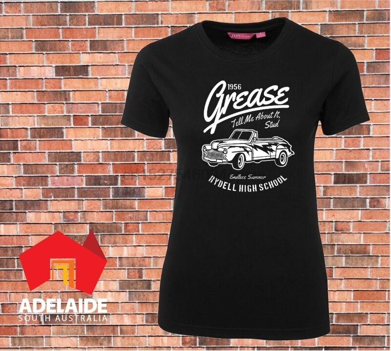 Grease Movie Ladies PRINTED T-SHIRT Rydell High School Tell Me About It Stud Car