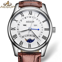 Fashion AESOP Moon Phase Watch Men Leather Strap Automatic Mechanical Sapphire Glass Waterproof Date Watch