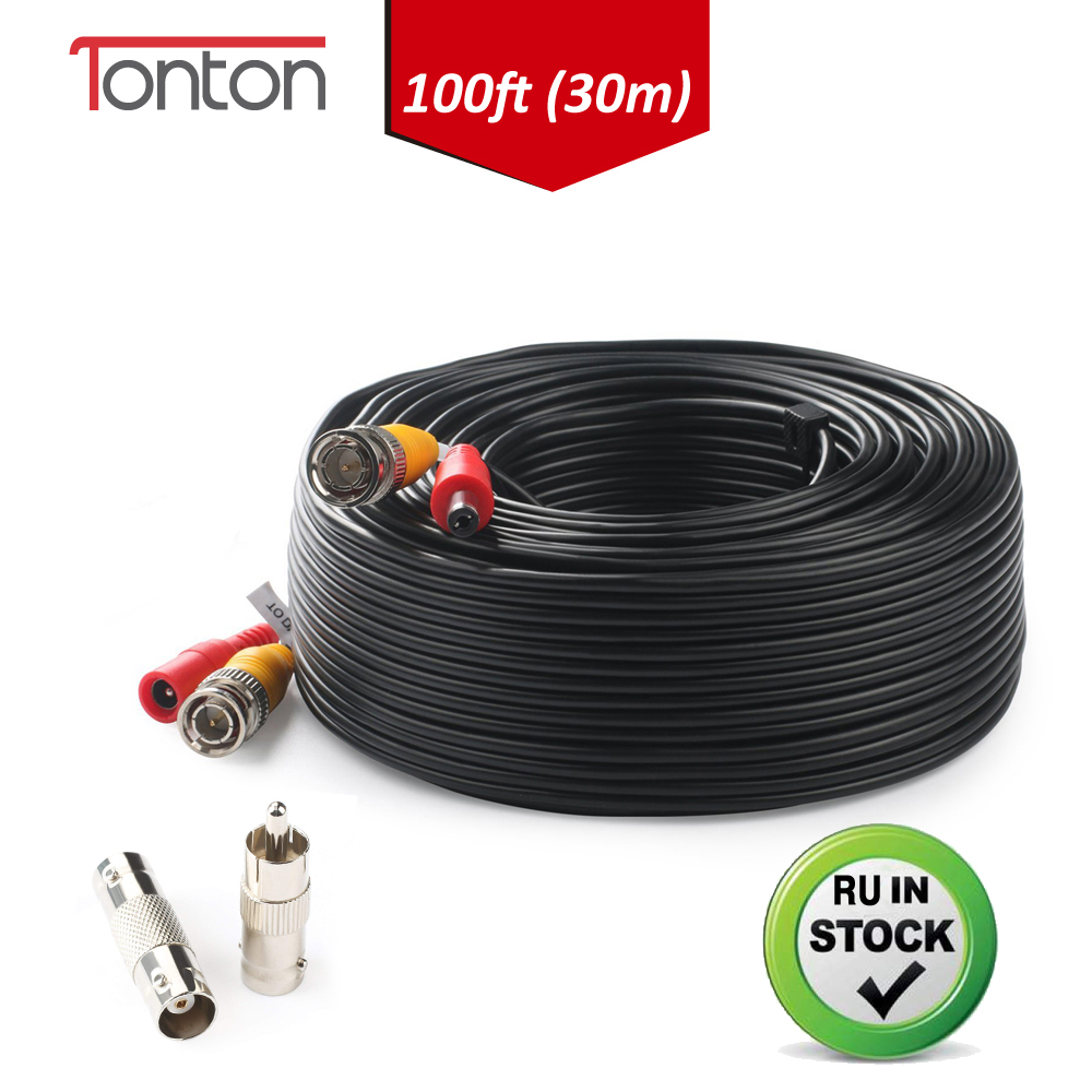 Tonton 100FT 30M BNC Cable CCTV Camera POE BNC+DC Connector Coaxial Cable BNC RCA Connector Splitter Bnc Crimp CCTV Accessories
