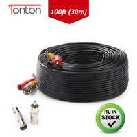 Tonton 100FT 30M BNC cámara cctv por cable POE BNC + DC conector Cable Coaxial BNC RCA divisor de conector bnc crimp CCTV Accesorios