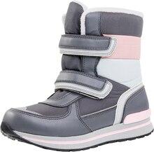 Новинка, 1 пара русский зимние теплые водонепроницаемые зимние ботинки удобная обувь для детей, малыш/мальчик Мода натуральный мех Сапоги и ботинки для девочек