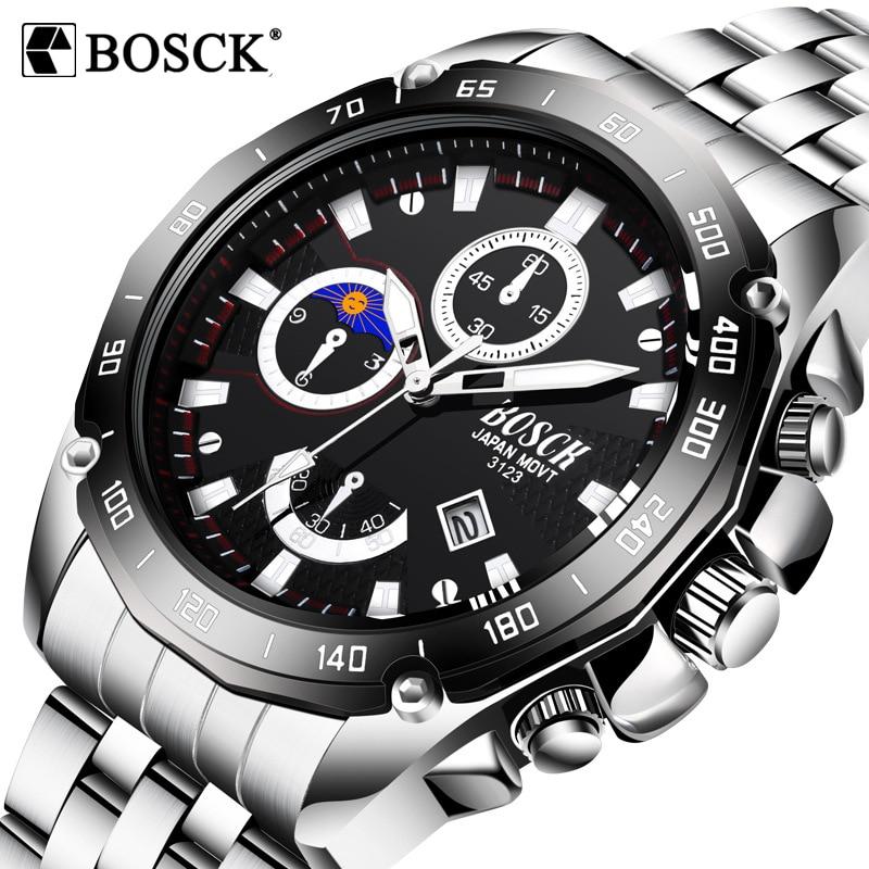 BOSCK Mannen kijken 2018 luxe merk roestvrij staal quartz horloge mannen sport waterdichte klok militaire polshorloge relogio masculino