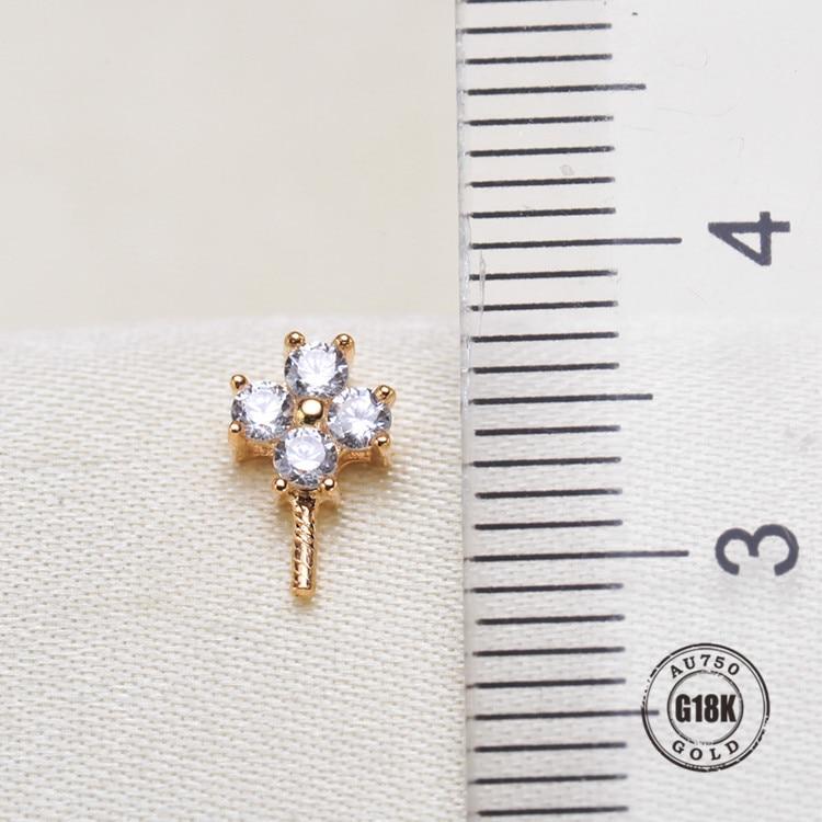 Connecteur pendentif en or jaune 18 k solide, capuchon de tasse et de cheville pour collier, boucle d'oreille, bijoux en argent sterling, 1 pièce - 2