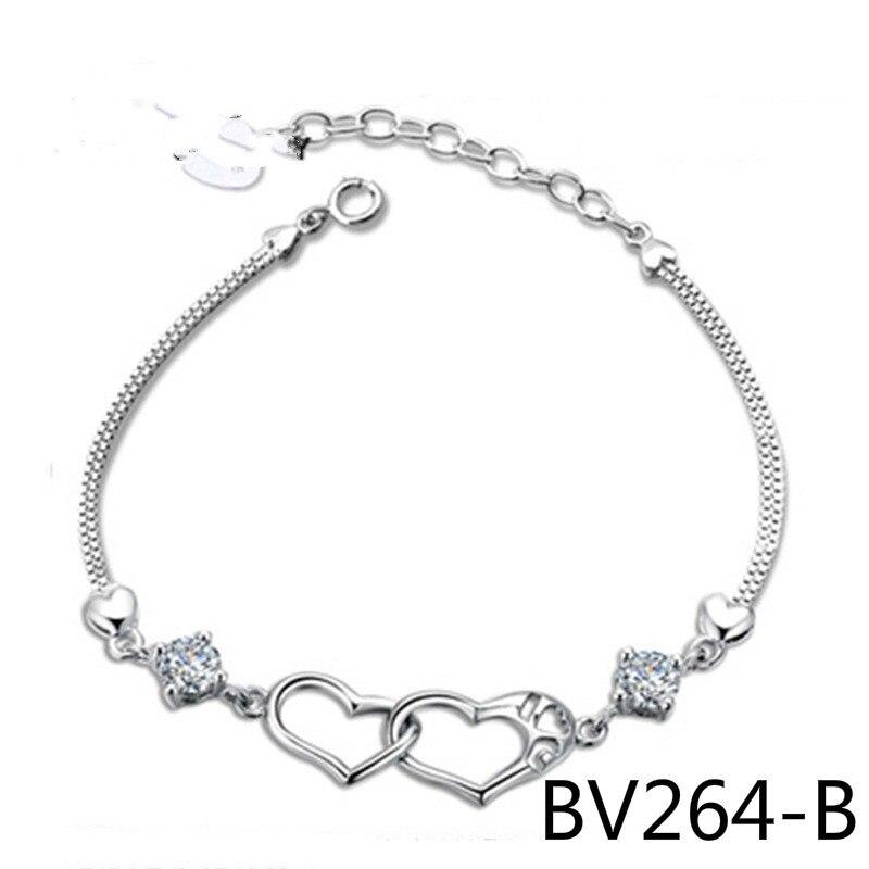 925 модные серебряные лаконичные счастье сигнала в форме Двойное сердце мельхиор покрытие война в раю прямой BV264