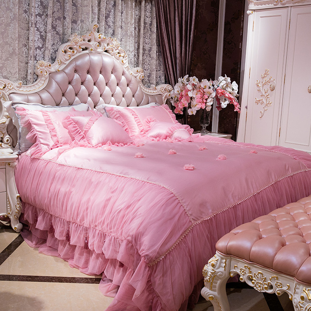4/6Pcs King Queen Size Princess Girls Bedding Set Luxury Royal Bed Sheet Set  Duvet
