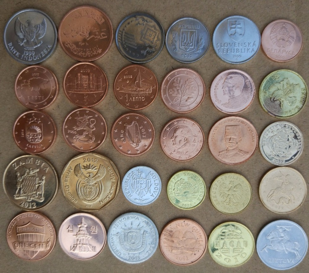 25 30 Bing Website: Original 30 Countries 30 Coins Collection Set From World