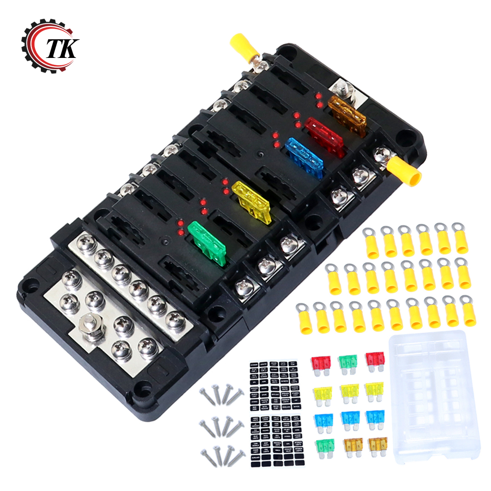 3 In 1 Assembly Blade Fuse Block Box Holder 12 Way Screw Nut Terminal With Fuses Waterpoof Cover For Boat Marine Automotive