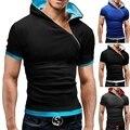 Camisa de t dos homens Da Marca 2016 Homens Moda Com Capuz Collar Oblique zipper dos homens do Projeto camisetas homens camisa de Manga Curta Magro Camiseta Homme