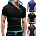 t shirt men Brand 2016 Fashion Men'S Hooded Collar Oblique zipper Design men's t-shirts men shirt Short Sleeve Slim Tshirt Homme