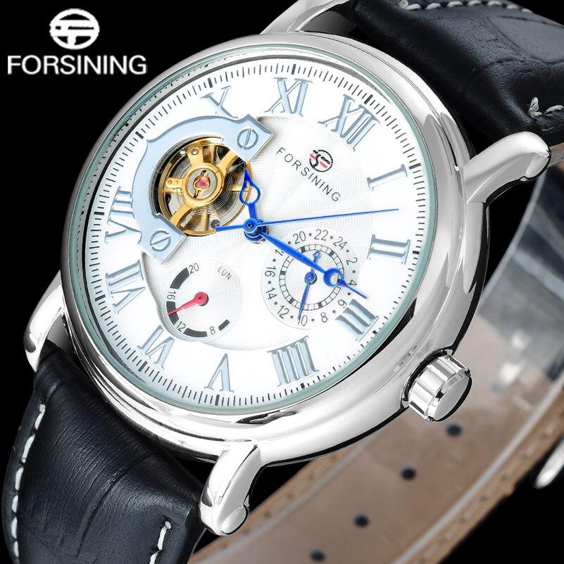 Fashion Casual FORSINING men business brand watches white dial tourbillion wristwatches auto Mechanical relogio masculino A826