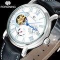 Fashion Casual FORSINING men business brand watches white dial tourbillion wristwatches auto Mechanical relogio masculino / A826