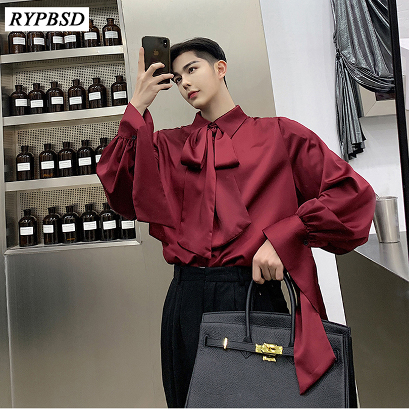 Spring Autumn New 2019 Fashion Solid Color Square Collar Men Bow Tie Shirt Korean Men Long-sleeved Bottoming Shirts Men Oversize