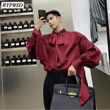 Spring Autumn New 2019 Fashion Solid Color Square Collar Men Bow Tie Shirt Korean Long-sleeved Bottoming Shirts Oversize