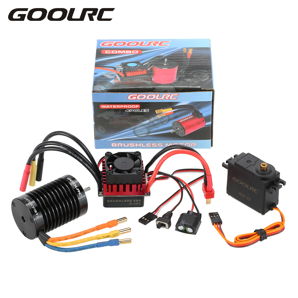 GOOLRC F540 4370KV Brushless Motor S-45A ESC with 6.0kg Metal Gear Servo Upgrade Brushless Combo Set for 1/10 RC Car Truck цены