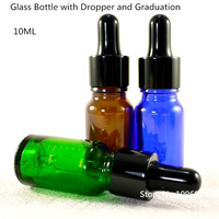 20PCS Amber Green Glass Essential oil Bottle Essence Oil Bottle Cosmetic Containers With Dropper Calibration Graduacion 10/30ml