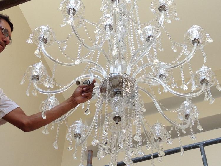 Lustres de cristal Lustre de cozinha grande com pingentes de cristal - Iluminação interior - Foto 4