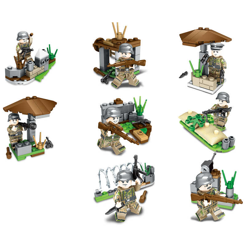 8 в 1 новый совместимый LegoINGlys военный спецназ, пластмассовыми фигурками, Ww2 Пособия по немецкому языку армии, строительные блоки, игрушки для детей, аэробас, подарок