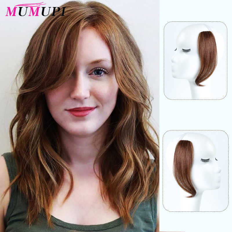 MUMUPI 25-30cm Clip in Bangs on Front Hair Side Fringe Hair human hair Bangs Hairpiece Long Bangs extensions for women