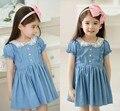Envío gratis 2014 nuevos niños de la muchacha del verano estilo de la escuela ropa Jeans vestido de princesa Dress / vestidos fiesta ropa para las muchachas