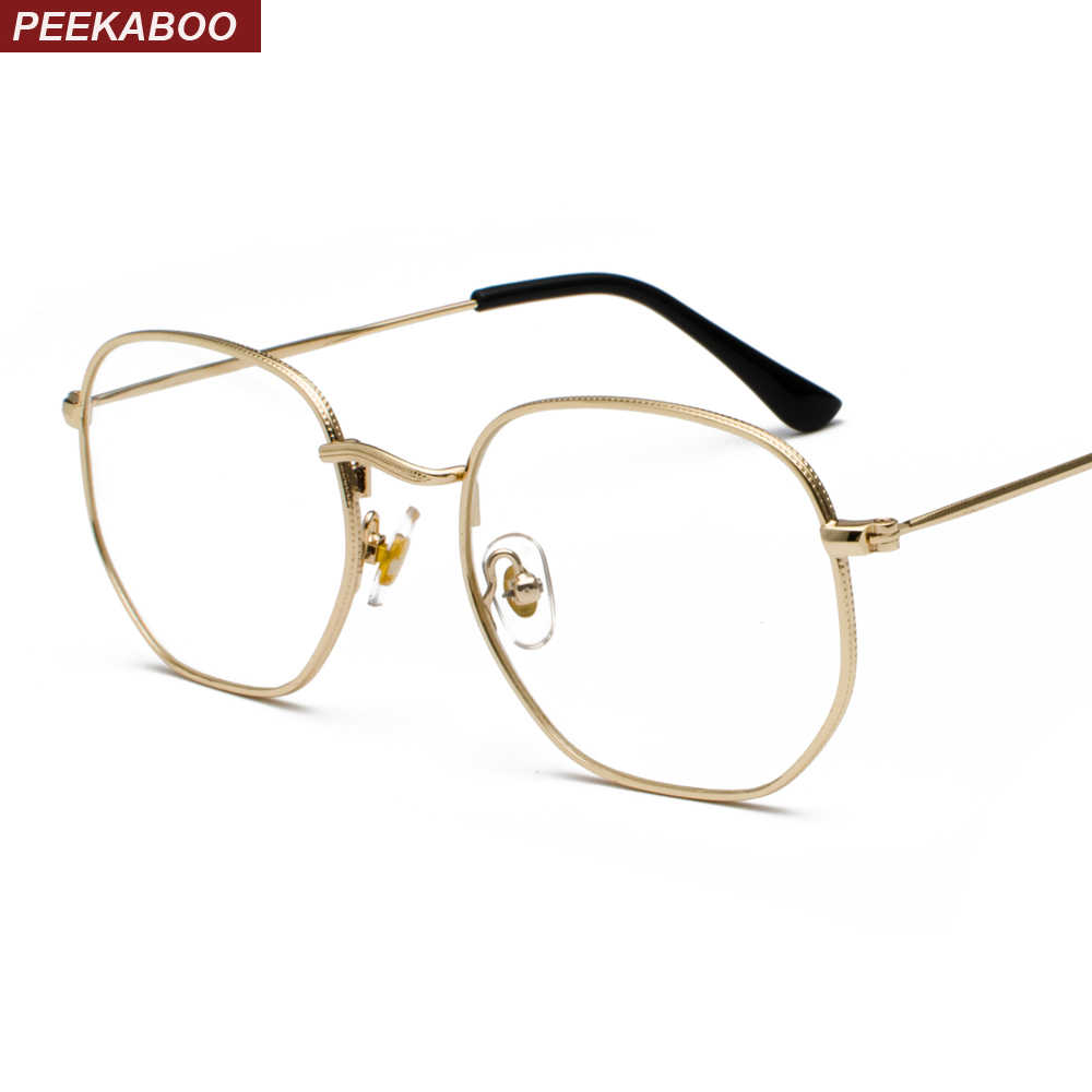 d08efd0d6459 Peekaboo gold metal frame eyeglasses square frame male 2019 clear lens eye  glasses frames for women