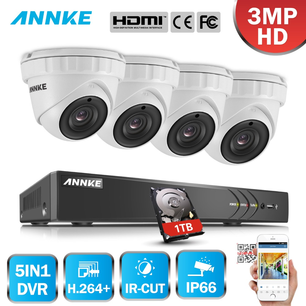 ANNKE 8CH 3MP 5in1 CCTV DVR HD 4PCS 3MP TVI Security Camera Outdoor Weatherproof Dome Camera Home Video Surveillance System Kit annke 8ch 5 in 1 dvr kits surveillance camera hd 720p tvi cctv security system 1080n dvr kit 1280tvl outdoor weatherproof video