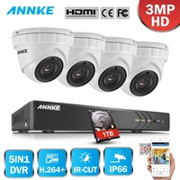 ANNKE 8CH 3MP 5in1 CCTV DVR HD 4PCS 3MP TVI Security Camera Outdoor Weatherproof Dome Camera Home Video Surveillance System Kit