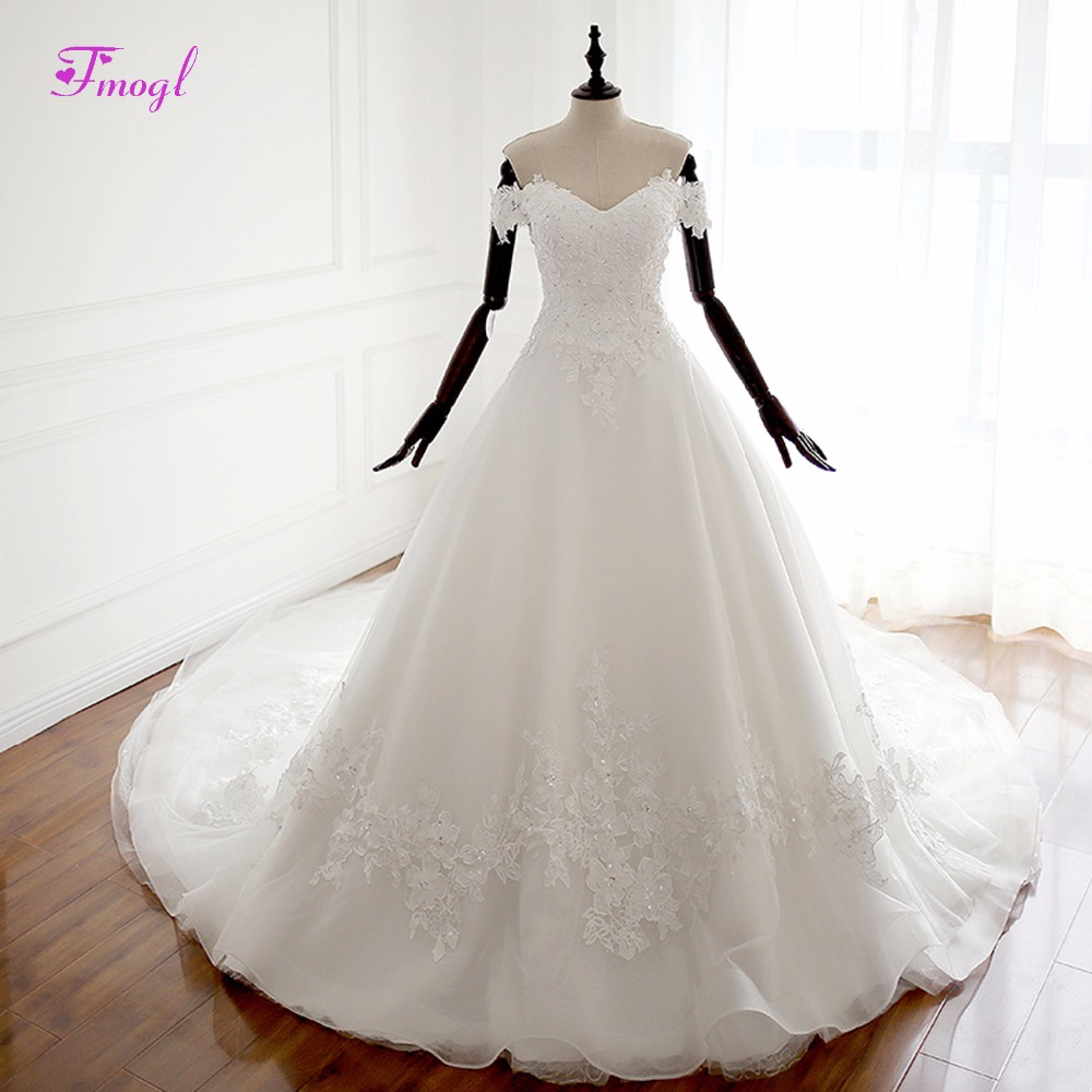 Fmogl New Stunning Sweetheart Lace Up Vintage Wedding Dresses 2018 Appliques Chapel Train Ball Gown Wedding Gown Robe De Mariage