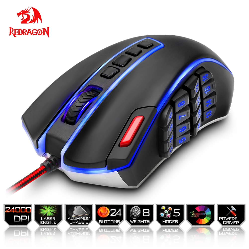 Redragon USB Gaming Mouse 24000 DPI 24 buttons ergonomic design for desktop computer accessories programmable mice gamer lol PC