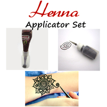 Mehndi Henna Applicator Bottle + Nozzle + Tattoo Stencil Full Set, Henna Temporary Body Art Wedding Tatoo Adult Sex Product