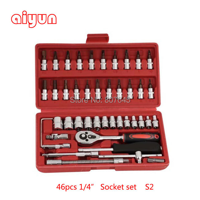 46pcs socket set 1/4 car repair tools ratchet wrench spanner set hand tools combination bits set screwdriver set tool kit 46 купить