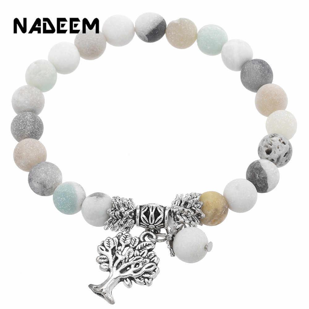 天然ラピス、クォーツ、溶岩、虎目石マラビーズブレスレット生活の木のペンダント魅力の女性の男性の瞑想エスニックブレスレット
