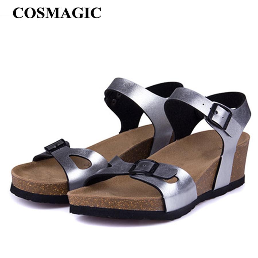 COSMAGIC Cork Sandals Platform Beach Wedge Black White Summer Shoe Buckle-Strap Fashion