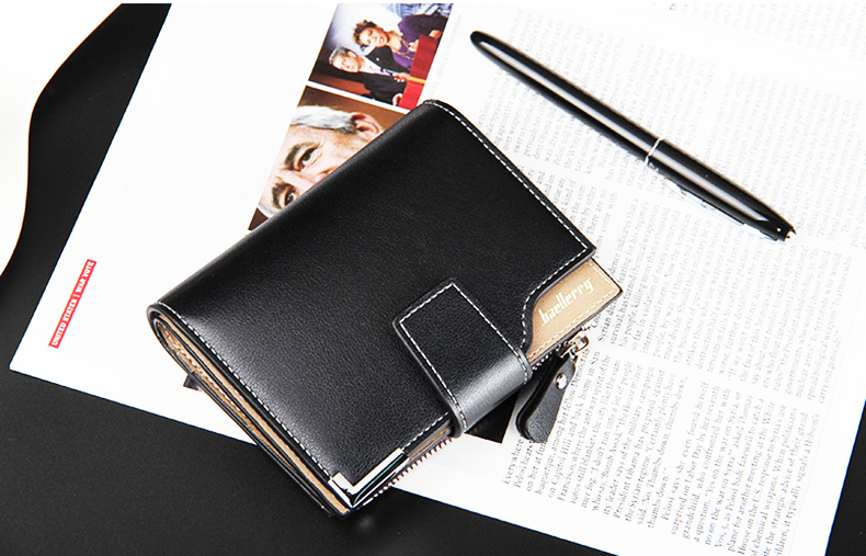 Leather Multifunction Men Wallets Zipper Pocket Trifold Purse Card Holder Hasp Wallet Zipper Purse brown one size 9