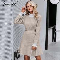 Simplee Elegant plaid dress women Turtle neck knitted short dress female Ruffle sashes vintage autumn office ladies vestidos