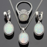 4pcs Australia White Opal Stones 925 Sterling Silver Jewelry Sets For Women Necklace Pendant Drop Earrings