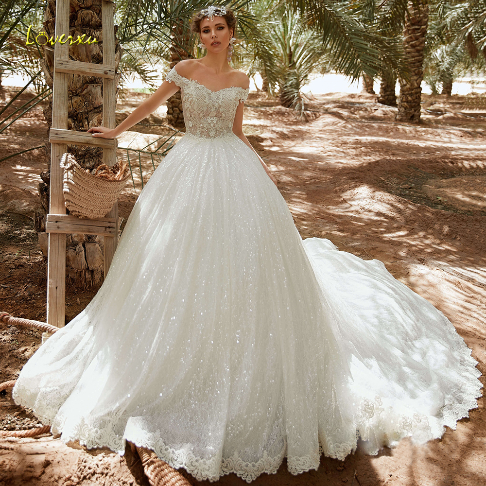 Loverxu Sweetheart Ball Gown Sparkling Wedding Dress 2019 Chic Applique Off The Shoulder Bride Dress Cathedral Train Bridal Gown