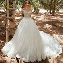 Loverxu querida vestido de baile espumante vestido de casamento 2019 chique applique fora do ombro vestido de noiva catedral trem vestido de noiva