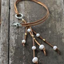 Уникальное ожерелье-чокер из натуральной кожи с пресноводным жемчугом, женское праздничное ожерелье, подарок подружки невесты, ювелирное изделие из натурального жемчуга