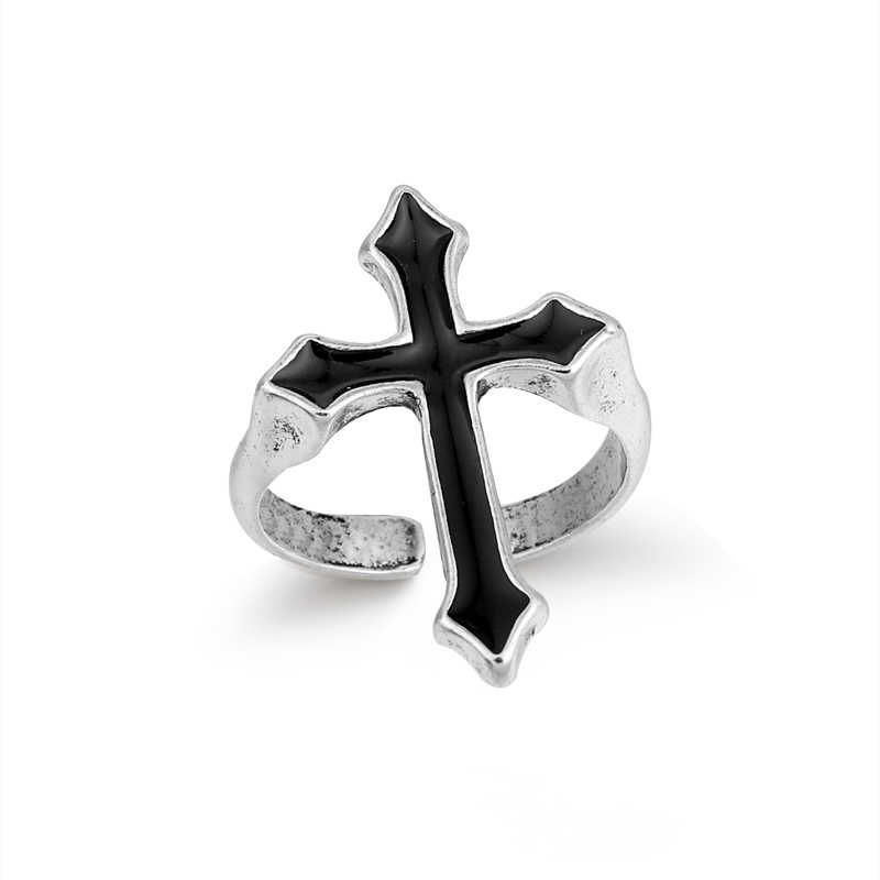 GEOMEE 1PC Vintage Black Big Cross Open Ring For Women Party Jewelry Men Trendy Gothic Silver Color Finger Ring Anillo R58-1
