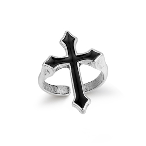 GEOMEE 1PC Vintage Black Big Cross Open Ring For Women Party Jewelry Men Trendy Gothic Silver Color Finger Ring Anillo R58-1(China)